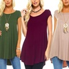 Isaac Liev Women's Flowy Short-Sleeve Tunic Top. Plus Sizes Available.