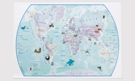 1 o 2 Mappa mondo Maps International® con adesivi