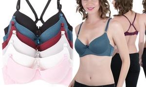 Women's T-Shirt Bras with Versatile Straps (6-Pack)