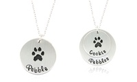 Paw Print Pendant Necklace in Sterling Silver