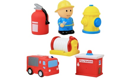 Fire Station Action Figure Soft Vinyl Bath Toy Set (6-Piece)