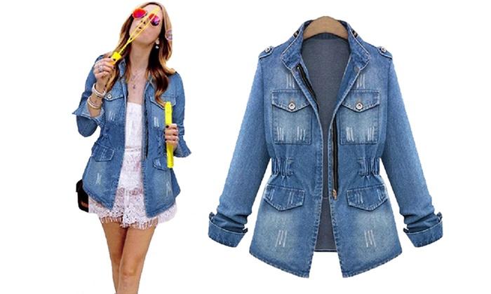 bas prix ade3b 29641 jusqu'à 46% Veste femme en jean zippé Cheyenne | Groupon