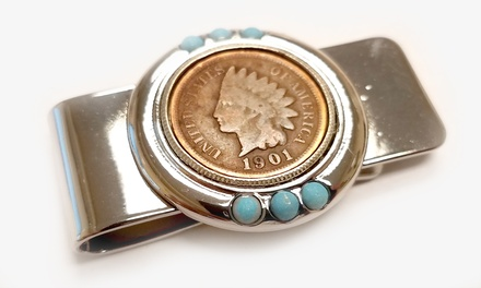 Indian Head Penny and Turquoise Money Clip