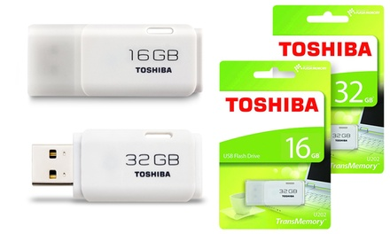 Toshiba TransMemory USB 2.0 16GB or 32GB White Flash Drive