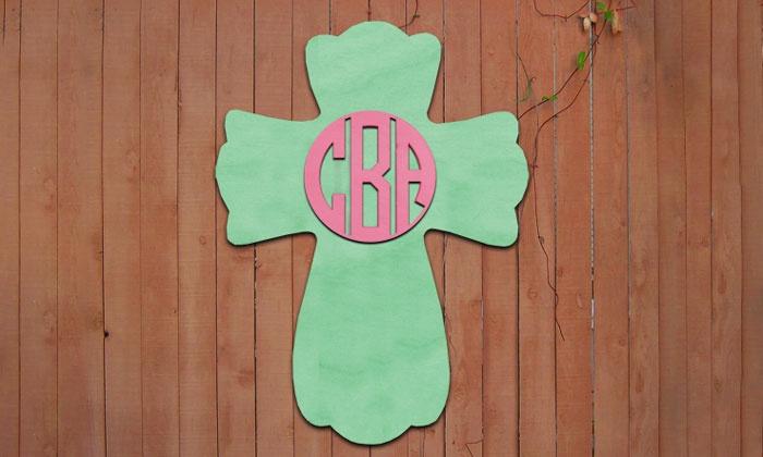 """aMonogram Art: $24.99 for 18""""x12"""" Unpainted Custom-Monogrammed Wooden Easter Cross ($58.50 Value)"""