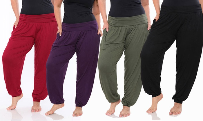 white mark women's plus size harem pants | groupon