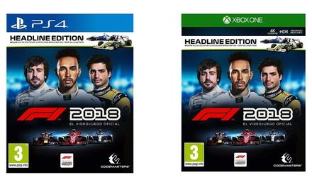 Videojuego Fórmula 1 2018 de Codemasters para PS4 y Xbox One, con 2 coches clásicos extra (envío gratuíto)