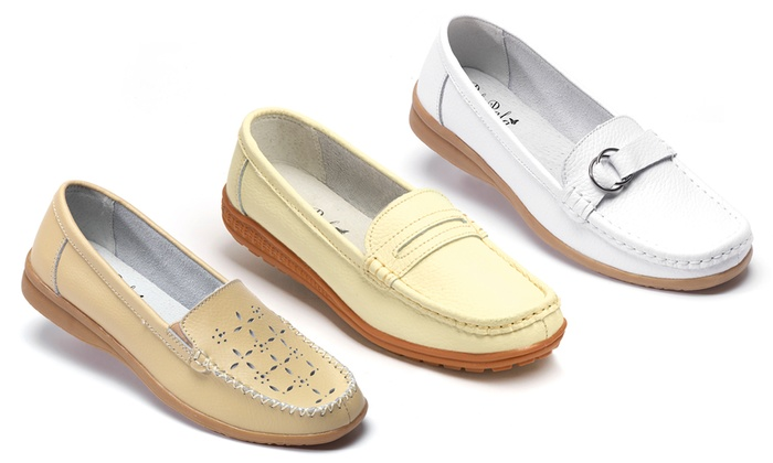 Mocassins confort femme en cuir   Groupon Shopping 331b2a364ce9