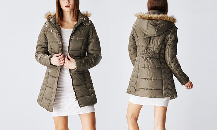 Junior Lady Hooded Long Puffer Jacket (Size S)