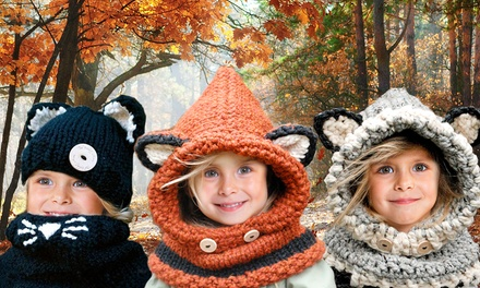 One, Two or Three Kids Animal Knitted Hat and ScarfSets