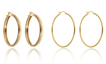 18K Gold-Plated Sterling Silver Hoop Earrings