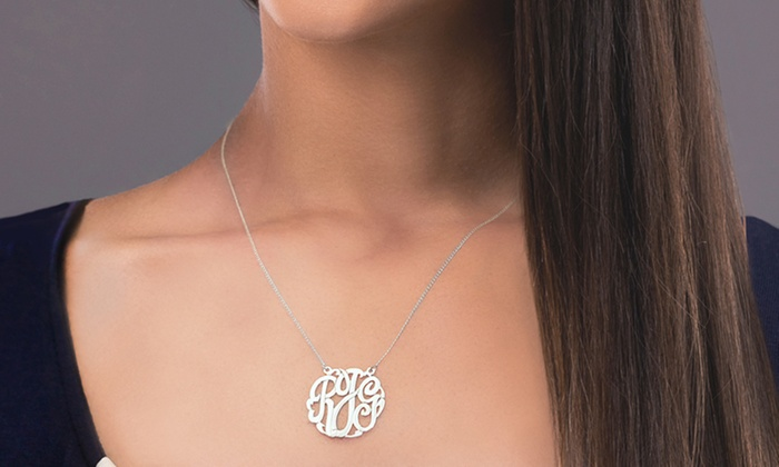 Monogram Online: Monogram Necklace in Sterling Silver or Yellow or Rose Gold Over Sterling Silver from Monogram Online (Up to 76% Off)