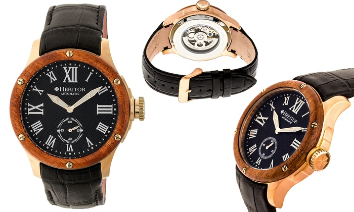 1c1398ead Heritor Men's Automatic Leather Watch with Skeleton Dial   Groupon