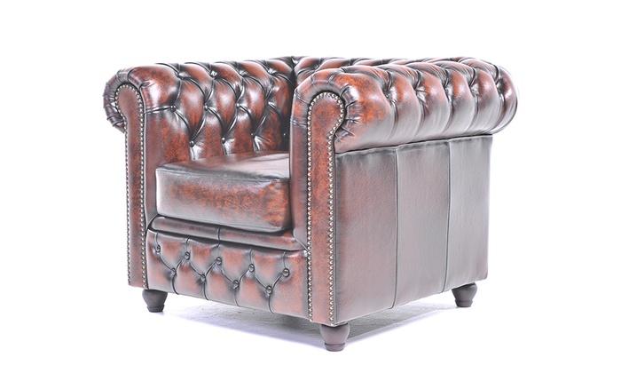 Fabulous Chesterfield Bank Van Echt Leer Groupon Goods Lamtechconsult Wood Chair Design Ideas Lamtechconsultcom