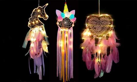 1, 2 ou 3 attrape-rêves avec rétroéclairage LED en forme de licorne ou de coeur