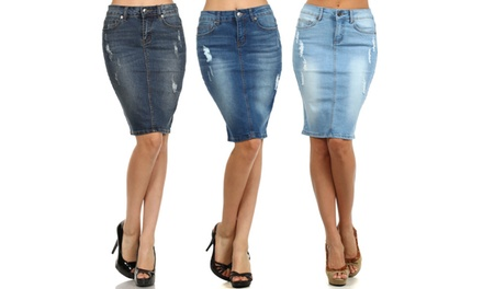 Women's Distressed Denim Pencil Skirt