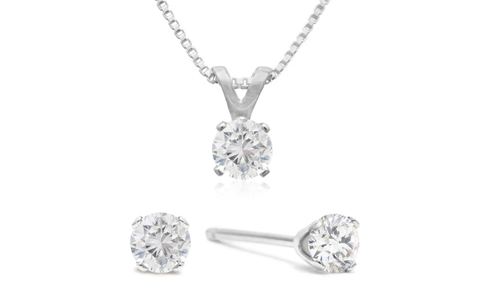1 4 Cttw Diamond Stud Earrings And Necklace Set