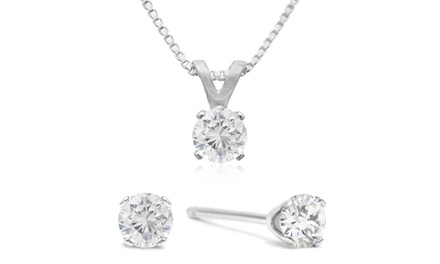 1/4 CTTW Diamond Stud Earrings and Necklace Set