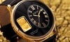 August Steiner Men's Quartz Watch with Leather Strap and Gold Ingot