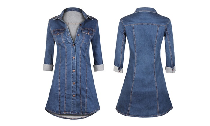 386bb1c857d Women s Button-Down Long-Sleeve Denim Fitted Tunic Dress (Size S ...