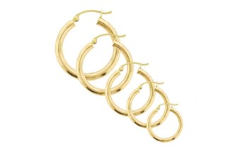 14K Solid Yellow Gold High-Polish Hoop Earrings