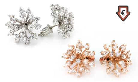 1 o 2 pendientes Snowflake bañados en oro y adornados con cristales Swarovski® Oferta en Groupon