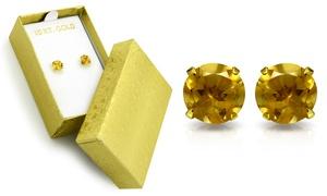 2.00 CTW Genuine Citrine Stud Earrings in Solid 10K Gold