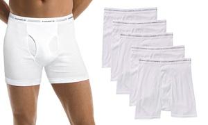 Hanes Men's Tagless White Cotton Boxer Briefs (5-Pack)