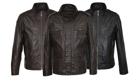 Men's Leather Biker or Utility Jacket for £59.99 With Free Delivery (Up to 76% Off)