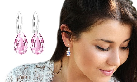 Ah! Jewellery Sterling Silver Pear Earrings with Crystals from Swarovski®