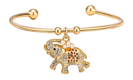 One or Two Philip Jones Elephant Cuff Bangles with Crystals from Swarovski