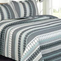 Deals on Printed Reversible Bedding Quilt and Shams Set 3-Piece