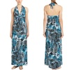 T-Bags Los Angeles Blue and Black Printed Halter Maxi Dress