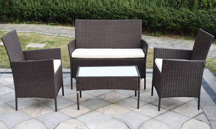 Davis and Grant Four-Piece PE Rattan Garden Furniture Set with Optional Cover for £149.98