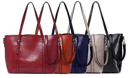 Tote or Top-Handle Wax Leather Handbag