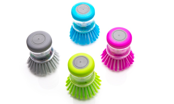 Two or Four Washing Up Cleaning Brushes with Soap Dispenser from £4.99