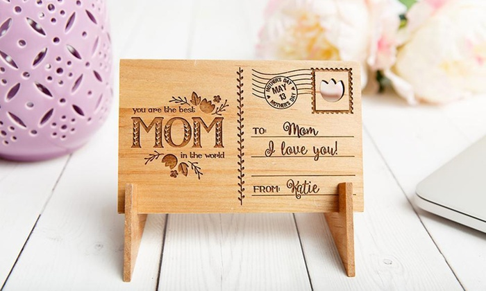 One, Two, Three, Five, or Ten Personalized Mother's Day Wooden Postcards from Qualtry (Up 80% Off)