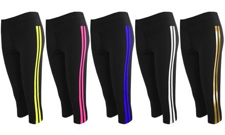 Womens Side Stripes 3/4 Leggings