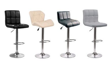 Two Wave, Cube or Diamond Cushioned Seat Bar Stools With Free Delivery