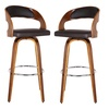 Shelly Modern Bar-Height Swivel Barstools in Brown PU (2-Pack)