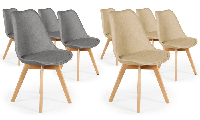 Chaises scandinaves tissu conor groupon shopping - Lot de 6 chaises scandinaves ...