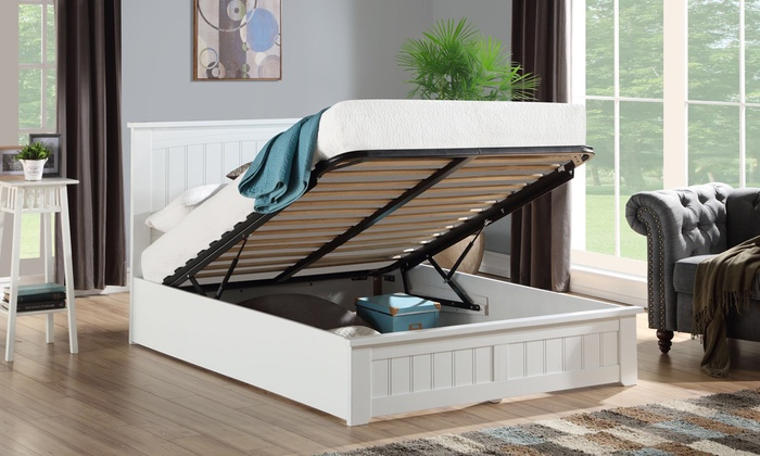 Venice Solid White Wood Storage Bed with Optional Mattress