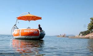 """Turm mit der Uhr: 2, 3 oder 4 Std. Grillboot """"BBQ Donut"""" inkl. Grill-Set mieten bei Turm mit der Uhr am Dümmer See (bis zu 50% sparen*)"""