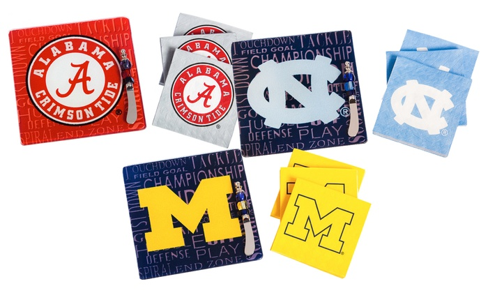 NCAA Party Gift Set with 50 Napkins, Glass Cutting Board, and Spreader