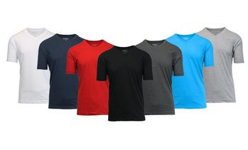 Galaxy by Harvic Men's Fitted Cotton-Blend V-Neck Tees (5-Pack)(M-3XL)