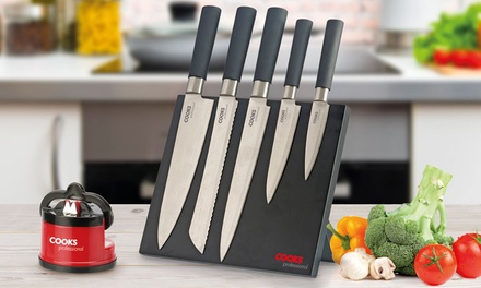 Cooks Professional FivePiece Forged Knife Set with Optional Sharpener