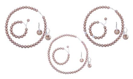 Od 99,99 zł: 3-częściowy zestaw biżuterii z pereł w kolorze almond z elementami srebra 925 (do -90%)