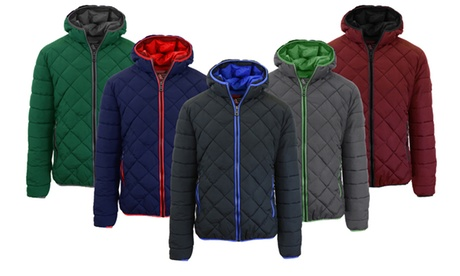 Men's Quilted Puffer Jacket with Hood ad494bb7-c3da-4905-8115-01d265881942