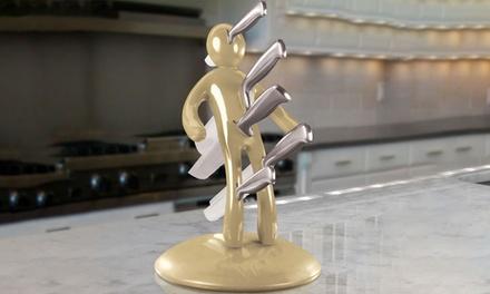 5er-Messer-Set mit Messerblock in Gold und imextravaganten Design (66% sparen*)