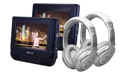 Set de DVD para el coche Jay-Tech con 2 auriculares Bluetooth